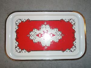 """Vintage Mid-Century Metal Tin TV Lap Rolling Tray Red & Gold 14.25"""" x 8.75"""""""