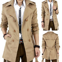 COOL Men Winter Slim Double Breasted Trench Coat Long Jacket Overcoat Outwear