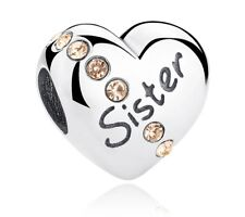 Sister Charm Heart 925 Sterling Silver for a Charm Bracelet comes in a GIFT bag