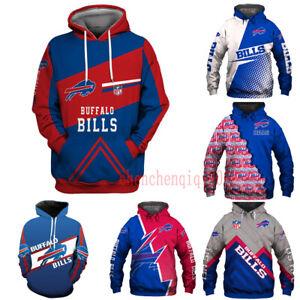 Buffalo Bills Hoodies Pullover Football Sport Hooded Sweatshirt Fans Jacket Coat