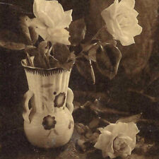 Antique Rose Vase Postcard Flowers Black And White