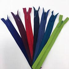 """6"""" YKK Invisible Zipper 75 Piece Multi-color Assortment Nylon Coil Closed End"""