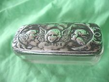 Old Antique Argent Massif Angelot Haut Verre Coiffeuse vanity PIN Box 1904