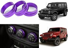 3pc Purple Climate Control Trim Rings For 2011-2017 Jeep Wrangler New Free Ship