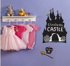PRINCESS CASTLE CHALKBOARD wall stickers 3 decal wand crown tiara chalk included