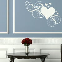 LOVE HEART FLORAL FLOWER WALL STICKER WALL DECAL giant stencil vinyl mural LO15