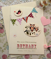 Large Handmade Personalised Christening Card - Bunting & Owls for Girl or Boy