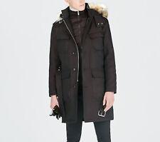 Zara Men's Winter Coat Size M Medium Long Insulated Vest Parka Hood Jacket NWT