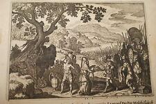 GRAVURE SUR CUIVRE ABRAHAM DELIVRE LOT-BIBLE 1670 LEMAISTRE DE SACY  (B07)