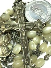 """† VINTAGE """"ST JUDE"""" MEDAL & HAND CARVED MOTHER OF PEARL ROSARY 26"""" IMPOSSIBLE †"""