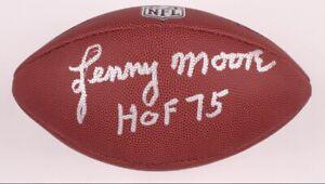 "Lenny Moore Signed NFL Football Inscribed ""HOF 75"" (Schwartz COA) Colts"