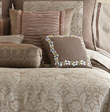 """$100 Waterford Ballina 14"""" Square Mocha Paillette Butterfly Decorative Pillow"""