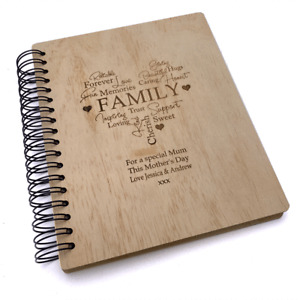 Personalised Large Engraved Wooden Family Photo Album Gift WPAL-2