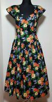 New Hopfner Jeunesse Women's Dress Size M Floral Tulle Skirt Midi Black Party