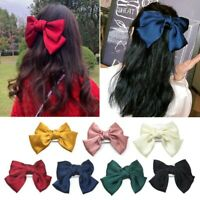 Women Bow Knot Hair Clip Pure Color Hairpin Two Layers Big Bow Barrette Cute
