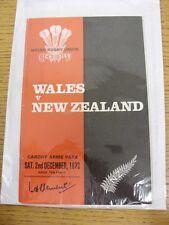 Rugby 02/12/1972: Wales V Nuova Zelanda [a Cardiff ARMS Park] OFFICIAL PROG