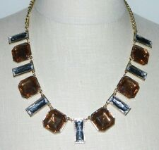 New Old Stock Gold Tone Plastic Topaz Clear Rhinestone Necklace Choker