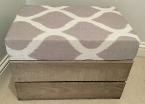 Fabric Covered Storage Footstool