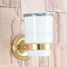 Gold Color Brass Single Tumbler Holder Toothbrush Cup Bathroom Accessory fba590
