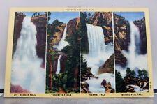 California CA Yosemite National Park Nevada Fall Vernal Bridal Veil Postcard Old