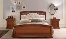 LUXE Lit fregi Capitone 180 cm Cerisier placage bois élégant d'Italie