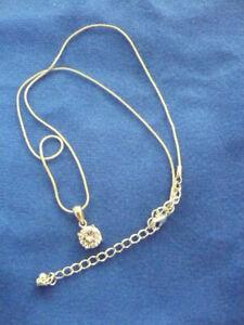"""in box Avon silver tone large round solitaire rhinestone pendant 16-19"""" chain"""