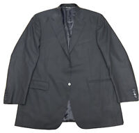 Mens 48 L Canali Black Wool Travel Water Resistant Suit Jacket Sport Coat Italy