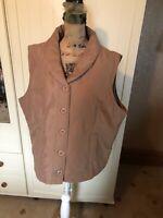 EWM Classics Ladies Beige Microfibre Padded Sleeveless Gilet Jacket Size XL