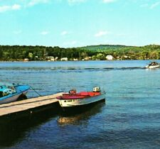 Shore dock boats motor Long Lake Harrison Maine Vintage Postcard