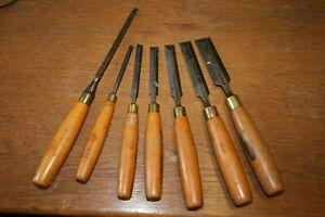 Vintage MARPLES SHEFFIELD Carpenter's Chisel Set x 7  1/4 3/8 1/2 5/8 3/4 1 Inch