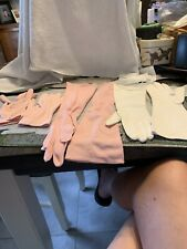 3 pairs vintage long cotton gloves (2) pink and (2) white Est Size 7