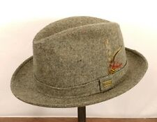 ADAM HAT OF NEW YORK Gray Tweed 100% Wool Fedora - Beautiful