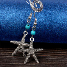 Lady Summer sandbeach Starfish Silver Plated Turquoise Ear Stud Earrings Jewelry