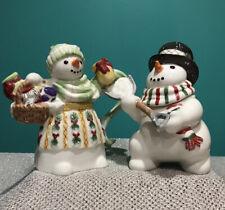 Fitz & Floyd The Flurries Snowman Sugar & Creamer Set
