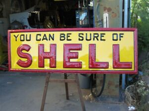 HUGE SHELL Embossed, Petrol Station Bowser Garage, Workshop oil METAL SIGN