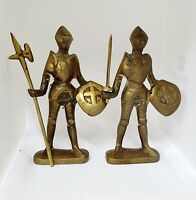 Vintage Solid Brass Medieval Knight Figurine x2