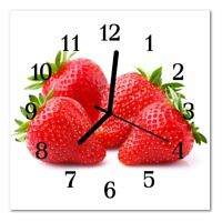 "DEKOGLAS Glasuhr /""Obst rot/"" 30x30 eckig Acryl-Glas Wanduhr Küche modern groß Uhr"