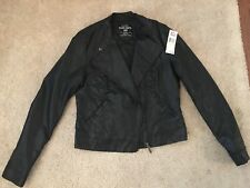 Ecko Unltd Moto Jacket Black Faux Leather Size Medium
