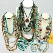 STONE, GLASS & POTTERY BEADED NECKLACE LOT - VINTAGE TO NOW JEWELRY