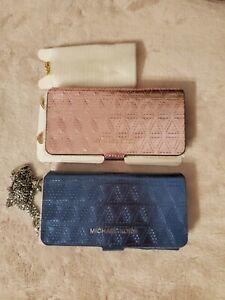 Michael Kors Folio Case Crossbody leather iPhone 7/8 Soft Pink / STEEL BLUE $120