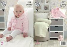 King Cole 4820 Knitting Pattern Baby Jacket & Blanket in King Cole Yummy Chunky