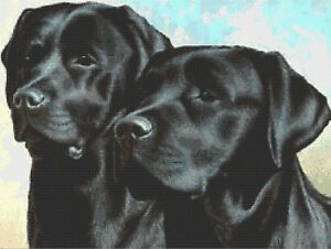 2 BLACK LABS - COUNTED X-STITCH CHART