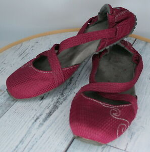 Ahnu burgundy Leather Casual Slip On Cross Strap Yoga Shoes ballet flats S