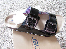 NEW JBU JAMBU ELLEN FOODBED CORK SANDALS WOMENS 10  BLACK PATENT SLIDES FREE SHP