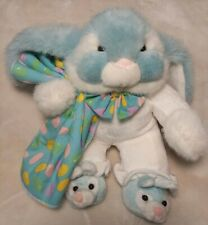Commonwealth Vintage Plush Easter Blue Bunny Pajamas Jelly Beans Blanket 11""