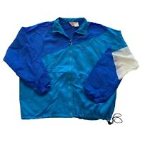 VTG 90s Nike Gray Tag Color Block Blue Swoosh Nylon Windbreaker Jacket Men's XL
