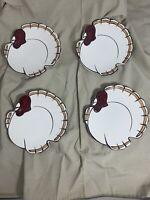 "POTTERY BARN GOBBLE PLATES Set Of 4 Thanksgiving Turkey - Salad Appetizer  . 7"""