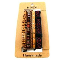 Handcraft friendship bracelet set wooden bead woven tribal hippie jewelry gift