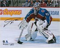 "Philipp Grubauer Colorado Avalanche Signed 8"" x 10"" Burgundy Jersey in Net Photo"