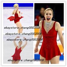 Ice skating dress. Shiny Neckline Red Figure Skating /Baton Twirling Costume